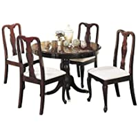Maison Furniture 2 pcs Fabric Upholstered Cherry Wooden Dining Chair Set (2 in 1)