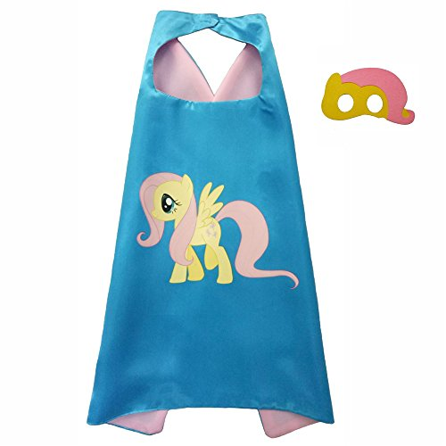 FASHION ALICE Kids Children's My Little Pony Hero Superman CAPE & MASK SET,Halloween Costume Cloak for Child (Fluttershy,Yellow and pink)