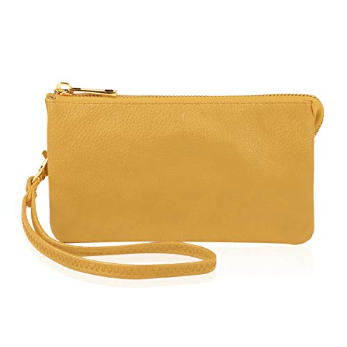 Wristlet Pouch - Convertible Soft Faux Leather Wallet Purse Clutch - Small Handbag Phone/Card Slots & Detachable Wristlet Strap (Yellow)