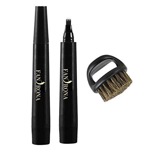Beard Pencil Filler For Men,Beard Pen,Barber Pencil and Beard Brush Male Mustache Repair Shape, Effective Enhance Facial Hair Waterproof Proof and Sweat Proof Solution (Dark Brown) (Color: Dark Brown)