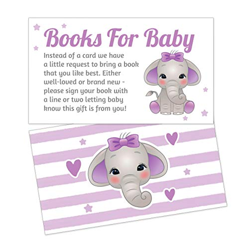 Purple Elephant Baby Shower Books for Baby Request Cards for Girls - Invitation Inserts - 25 Pieces