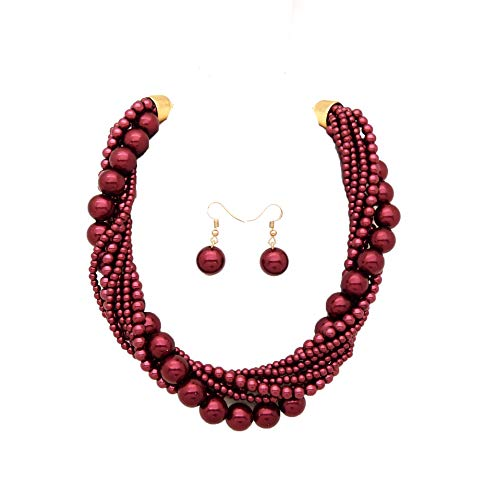 Fashion 21 Women's Twisted Multi-Strand Simulated Pearl, Acrylic Ball Statement Necklace and Earrings Set (Burgundy Wine) ()