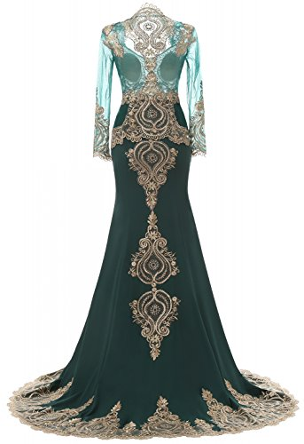 Liebe Abendkleider K Navy High Langarm Blau mit Neck der Schal Strass nig Mermaid gEEqRwa