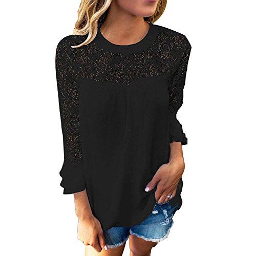 Noir shirt BAINASIQI Manches Blouse en Dentelle Creuses Longues T Femmes Chemisier Coutures qqEaSP