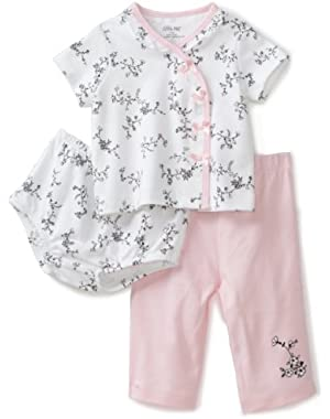 Baby-girls Newborn Floral Toile 3 Piece Diaper Pant Set