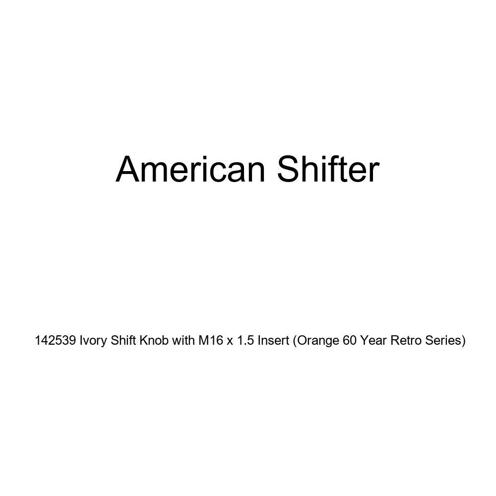 American Shifter 142539 Ivory Shift Knob with M16 x 1.5 Insert Orange 60 Year Retro Series