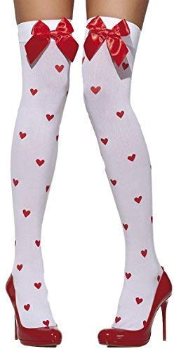 (Ladies White Red Queen of Hearts Print Snow White Bow Fairy Tale Thigh High Fancy Dress Stockings Hold Ups Tights Socks)