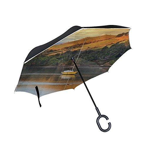RH Studio Inverted Umbrella Boat Lake River Autumn Trees Large Double Layer Outdoor Rain Sun Car Reversible Umbrella by RH Studio