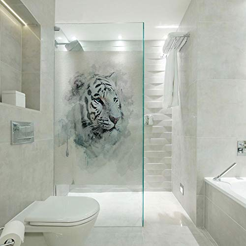 Privacy Window Film Decorative Glass sticker,Artistic Portrait of a White Tiger Wild Nature Predator Watercolor Splashes Decorative,Customizable size,Suitable for bathroom,door,glass etc,Black Grey Wh
