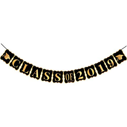 (Class of 2019 Graduation Banner - No-DIY Required, Classy Graduation Decorations Sign for College Grad Party and High School Graduation Party Supplies 2019, Gold and Black,Large,8 x 6.5)
