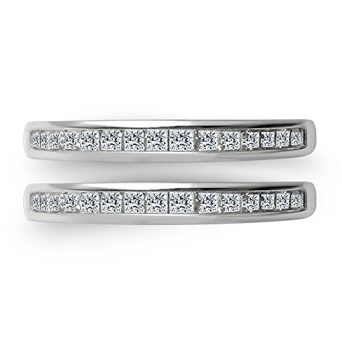 OMEGA JEWELLERY 1/2 Ct Princess Cut Natural Diamond 14K White Gold Anniversary Wedding Enhancer Guard ()