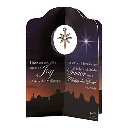 Joy to The World Christmas Standing Card with Ornament and Envelope, 6 1/8 Inch, Pack of 12