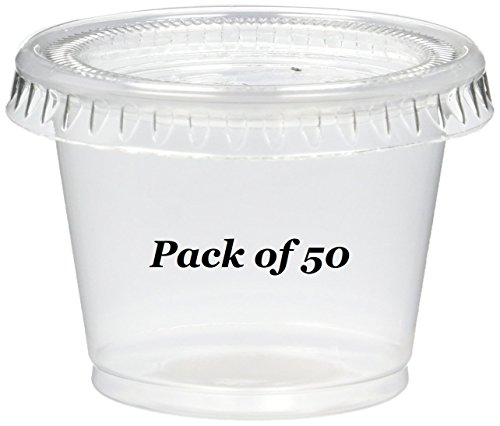 Reditainer - Plastic Disposable Portion Cups - Jello Shot Cup - The Perfect Souffle Cup (1 Ounce, Package of 50 Cups With Lids)