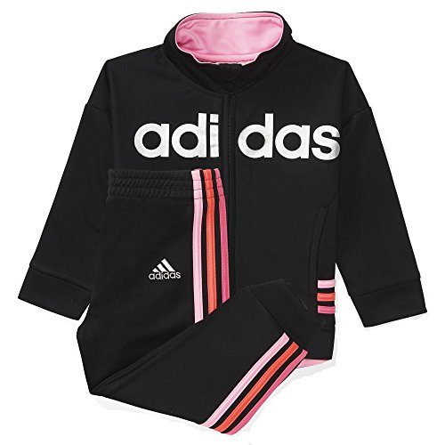 adidas Girls' Jogger Tricot Zip Jacket and Pant Set (Medium 10/12, Black Caviar /Bright Silver)