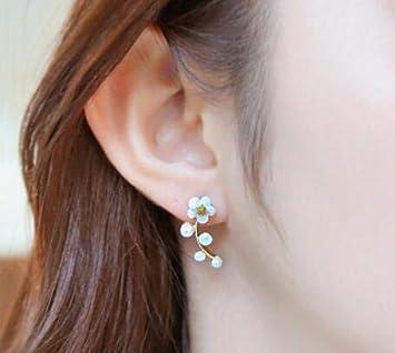 Pendientes de aleación de moda Pendientes de botón para mujer Pendiente de joyería de flor de perla simulada de cristal Oro