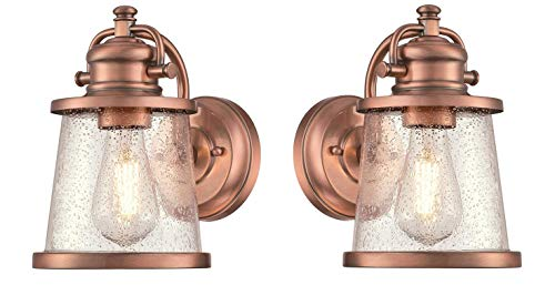 Westinghouse Emma Jane One-Light, Washed Copper Finish with Clear Seeded Glass Outdoor Wall Fixture (Copper 2 Pack)