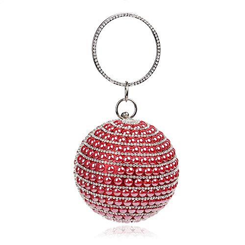 Night colore Rosso Pochette Banquet Womens da Clutch donna blu Crystal Handbag Asdflina Shoulder Pearls Shoulder qtw6x7ddZ