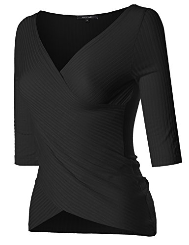 Lightweight Solid Soft Stretch Ribbed Crossover Top S-3XL Black Size 1XL