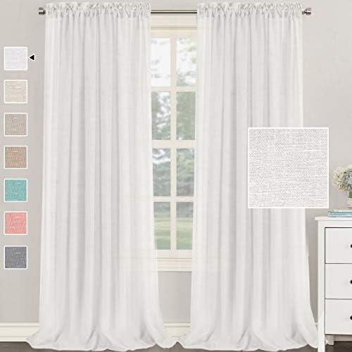 H.VERSAILTEX Natural Linen Blended Curtains 95 Inches Length 2 Panels Textured Woven Linen Sheer Curtain Drapes