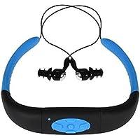 Hipipooo-16GB Memory Waterproof Sports MP3 Music Player Stereo Audio Earphone Underwater Neckband Swimming Diving With FM Radio Headset(Blue)