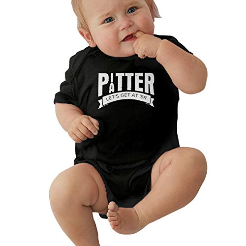 Tnghhg Unisex Baby Pitter Patter LetterKenny Jumpsuit Cotton Romper Short Sleeve Bodysuit One-Piece Suit Black ()