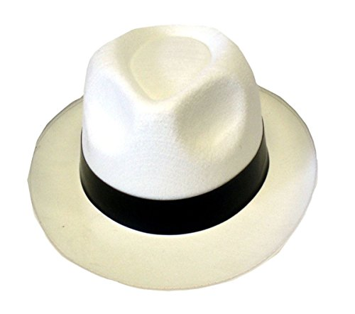 Rimi Hanger Mens Trilby Al Capone Gangster Black and White Hat Adults Fancy Dress Accessory Hat White One Size ()