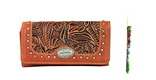 trinity-ranch-concho-floral-tooled-western-womens-trifold-wristlet-wallet-pen-jp-brown