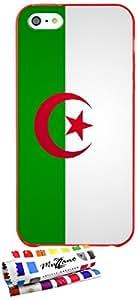 Carcasa Flexible Ultra-Slim APPLE IPHONE 5 de exclusivo motivo [Bandera Argelia] [Roja] de MUZZANO  + ESTILETE y PAÑO MUZZANO REGALADOS - La Protección Antigolpes ULTIMA, ELEGANTE Y DURADERA para su APPLE IPHONE 5