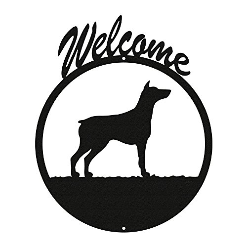 (DOBERMAN PINSCHER Black Metal Welcome Sign ~NEW~)