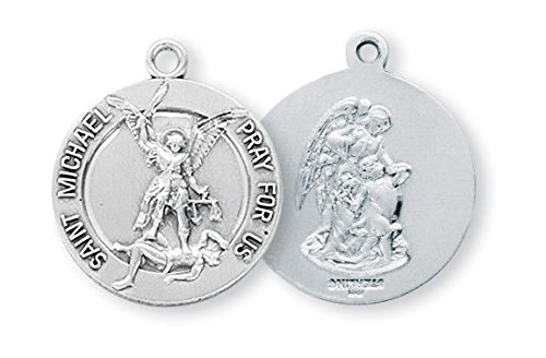 Sterling Silver Round St. Michael (Michael Sterling Round Medal)