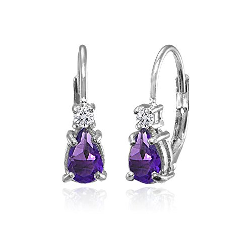 Sterling Silver African Amethyst and White Topaz Tiny Teardrop Huggie Leverback Earrings for Girls Kids
