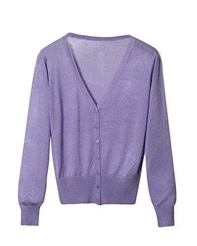 Donna Monocromo Lunghe neck Maglia Maniche Comodo V Button Purple 1 Giacche A Giacca Cappotto Eleganti Fashion Base Casual Autunno Knit Grazioso Stlie Primaverile wE5PWx8Tq