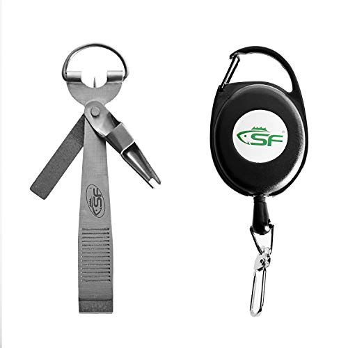 (SF Fly Fishing Zinger Knot Tying Tool EZ Knot Tyer with Zinger Retractor Nail Clippers Fishing Anglers Vest Pack Tool Gear Assortment Combo)