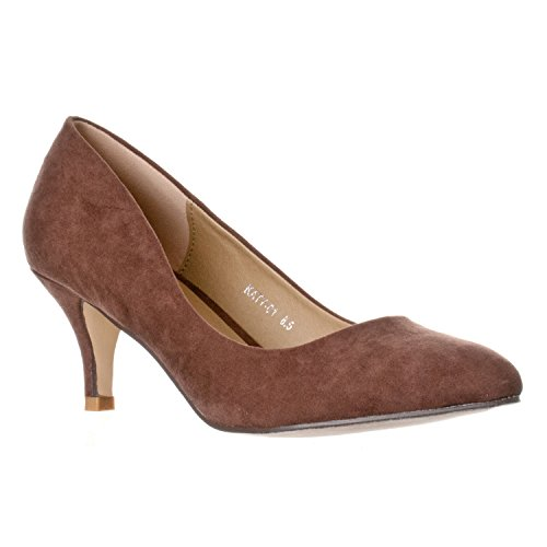 Riverberry Women's Katy Pointed Closed Toe Kitten Low Heel Pumps, Brown Suede, 8.5 (Heel Suede Pumps Brown High)