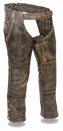 Pants Motorcycle Leather Chaps (Milwaukee MEN'S DISTRESSED BROWN MOTORCYCLE LEATHER RIDING CHAP PANTS W/ZIPOUT LINER (2XL Regular))