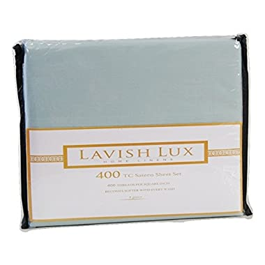 Lavish Lux Hotel Collection 400 Thread Count 100 % Cotton Sateen 4 PC Sheet set , Aqua, Queen