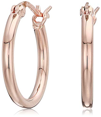 Women's 14k Rose Gold Plated Sterling Silver 2mm Round Tube Hoop Earrings, One Size