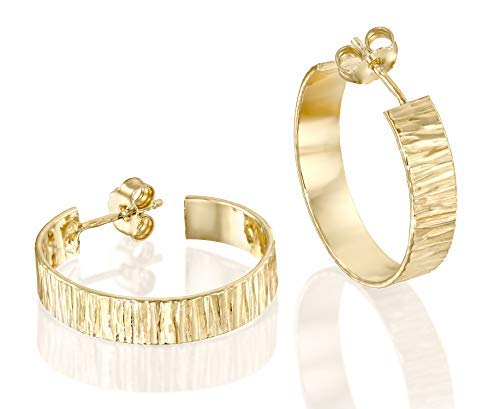 Classic Textured 14k Gold Filled Wide Hoop Earrings with Post & Butterfly Backs Elegant Women's Jewelry