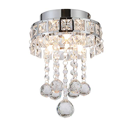 - Riomasee Crystal Chandelier Mini Style Modern Pendant 3 Lights Semi-Flush Mount Ceiling Light Fixtures for Hallway, Dining Room, Bedroom H8.7'' X W6.3''