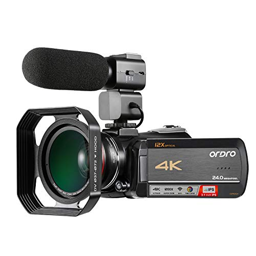 4k Camcorder, Ordro 4K UHD WiFi Video Camera with 12X Optical Zoom/Time-Lapse / 3.1 Inch IPS Touch Screen with Microphone, Wide Angle Lens and Lens Hood(32GB SD Card as Gift) by Emperor of Gadgets