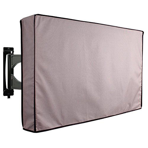 "KHOMO GEAR – Titan Series – Outdoor TV Cover Weatherproof Universal Protector for 36"" – 38"" LCD, LED, Television Sets – Works  with Most  Mounts & Stands. Built in Remote Controller Storage – Gray"