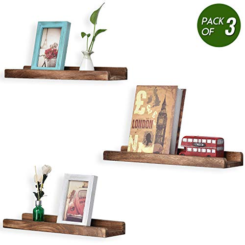 Emfogo Picture Ledge Shelf Rustic Wood Floating Shelves for Display 16.9 inch Set of 3