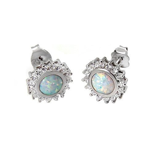 (White Lab Opal Round Sterling Silver Clear Cz Post Bevel Stud)