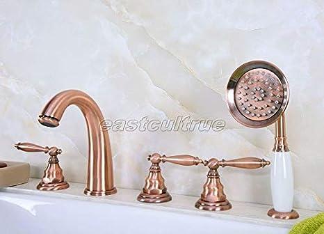 5 Hole Deck Mount Tub Faucet With Hand Shower.Amazon Com Fidgetfidget Red Copper Deck Mount 5 Hole
