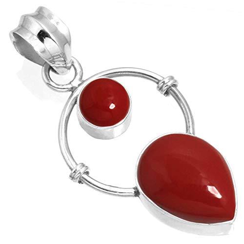 Cabochon Handmade Sterling Silver Pendant (925 Sterling Silver Pendant Red Stone Handmade Jewelry)