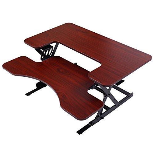 New Portable Adjustable Height Stand Up Desk Computer Workstation Lift Rising Laptop Brown - Nl El Mobile