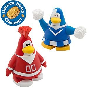 Disney Club Penguin 2'' Mix 'N Match Figure Pack -- Red Team and Blue Team Cheerleader