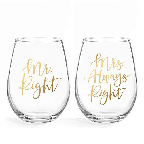 Mr Right & Mrs Always Right Wine Glasses - 20oz Stemless Wine Glass, Set of 2. Perfect Engagement, Bridal Shower, Bachelorette Party or Wedding Gift (LEAD FREE & BPA FREE) ()