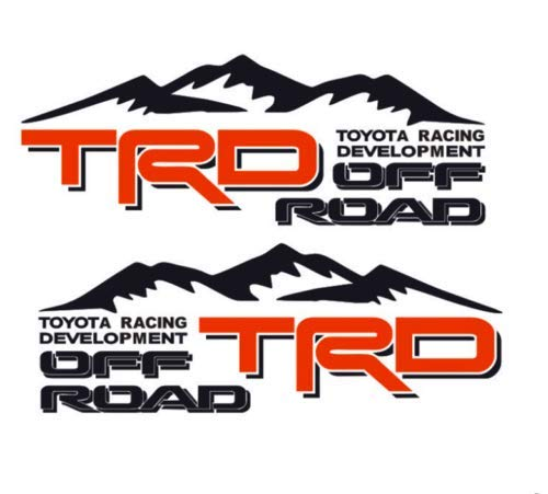 (CWZ 2PCS Toyota Tacoma TRD Sport Bed Decals Tundra Vinyl Toyota Racing Development 4x4 TRD Off Road 4X4 Toyota Racing Development Tacoma Tundra Truck Decal Sticker (Black + red))