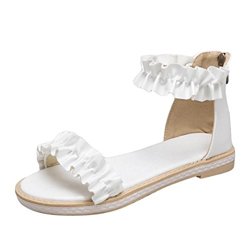Carolbar Women's Lovely Fashion Flat Ankle-Strap Zip Date Sandals White